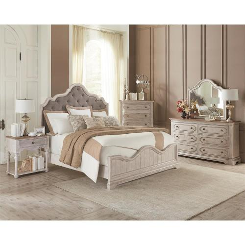 Elizabeth - California King Bed Rails - Smokey White Finish