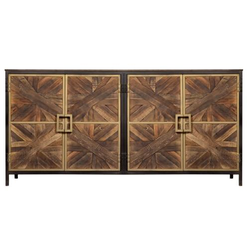 Harp and Finial - ATHENS SIDEBOARD  Reclaimed Walnut Finish on Mango Wood with Black and Gold Finish on Metal Frame