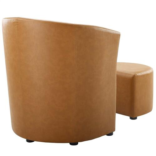 Divulge Armchair and Ottoman in Tan