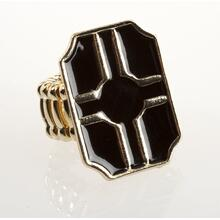 BTQ Black and Gold Graphic Stretch Ring