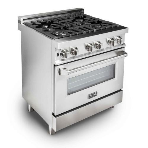 "ZLINE 30"" Professional Stainless Steel 4.0 cu.ft. 4 Gas Burner/Electric Oven Range (RA30)"