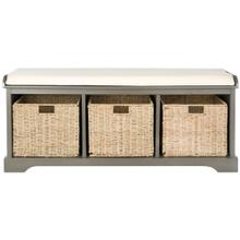Lonan Wicker Storage Bench - Grey / White