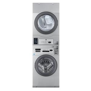 "Crossover True Commercial Laundry - 7.0 CF Heavy Duty Bottom Control Electric Dryer, Coin Option Included/Card Ready, Silver, 27"" (Stacked application)"