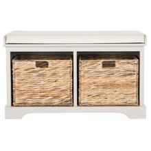 See Details - Freddy Wicker Storage Bench - Vintage Grey