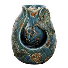 Blue Verdigris Hummingbird Fountain