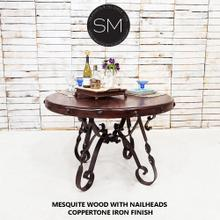 """See Details - Mesquite Wood Round Dining Table + Iron base - 1212D - 48""""Rd Bullnose / Turquoise Inlay / Dark Rust Brown"""
