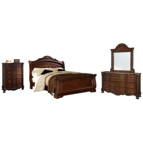 Product Image - Queen Sleigh Bed With Mirrored Dresser and Chest