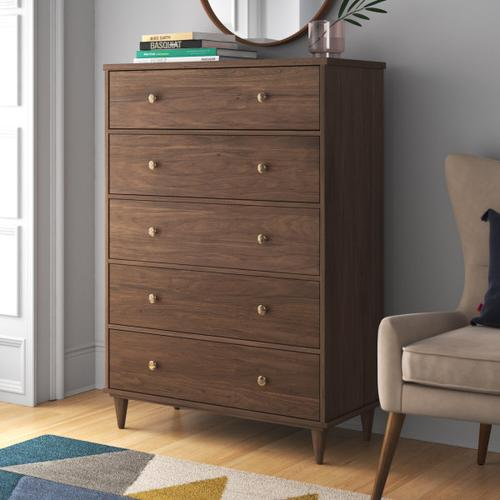 Accentrics Home - Mid Century Five Drawer Chest in Walnut - KD (Carton 2 of 2)