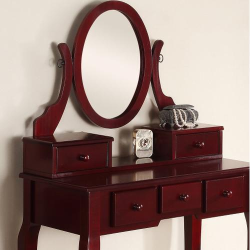 Round Hill Furniture - Ashley Wood Makeup Vanity Table and Stool Set - Cherry