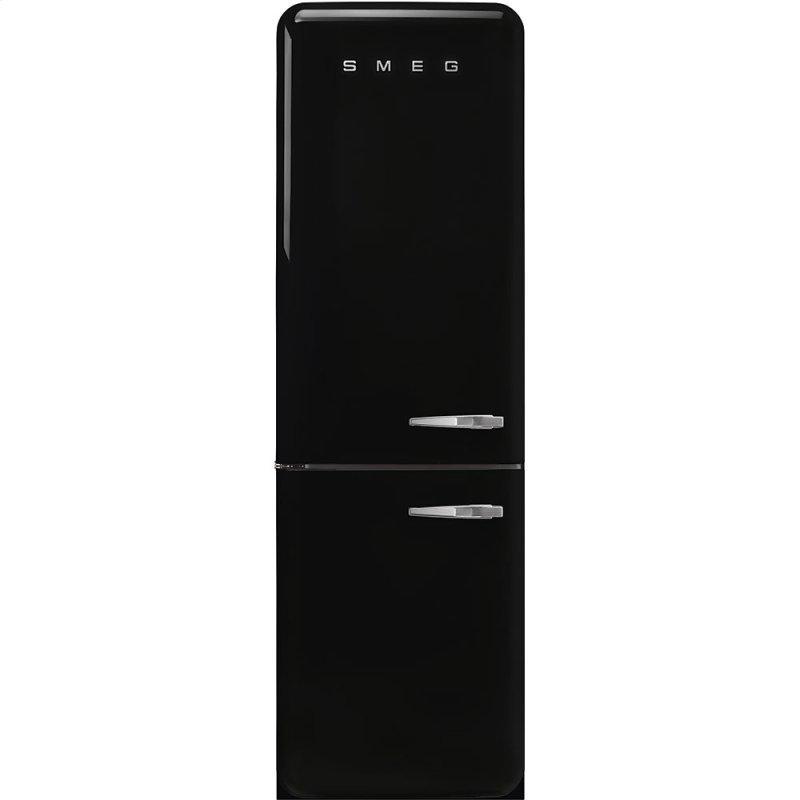 "'50s Style No Frost' Fridge-Freezer, Black, Left Hand Hinge, 60 cm (Approx 24"")"