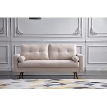 See Details - 8137 BEIGE Linen Stationary Tufted Sofa