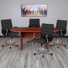5 Piece Cherry Oval Conference Table Set with 4 Black and Chrome LeatherSoft Executive Chairs