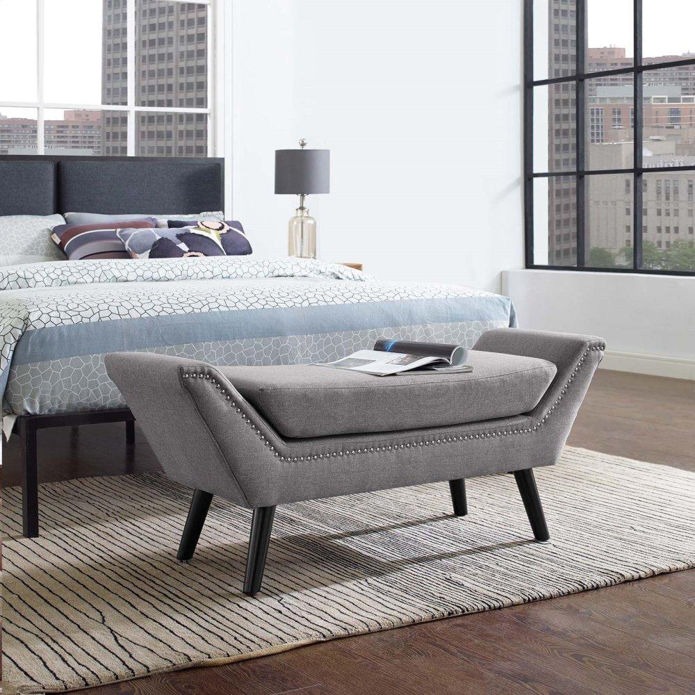 Gambol Upholstered Fabric Bench in Light Gray