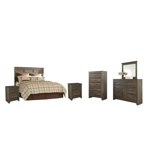 Product Image - Queen Panel Headboard With Mirrored Dresser, Chest and 2 Nightstands