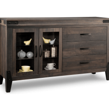 Chattanooga Sideboard w/2 Glass Doors on Left & 3/Dwrs on Right & 2/Glass Adjust.