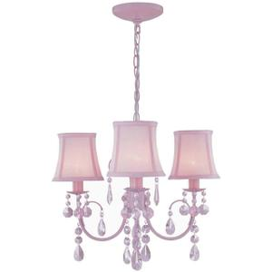 3-lite Chandelier, Pink W.CRYSTAL/PINK Shade, E12 B 40wx3