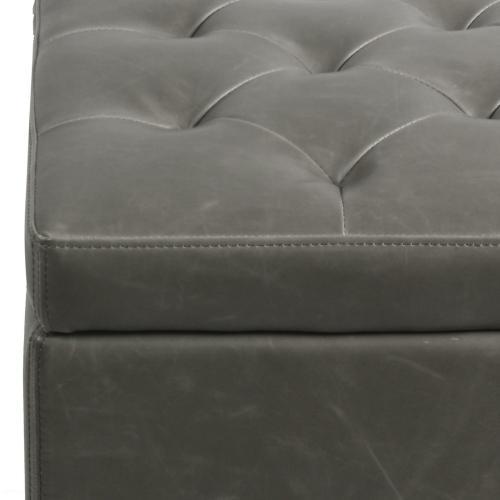 Julian Rectangular Bonded Leather Storage Ottoman, Vintage Gray