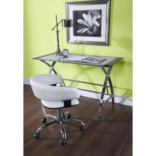 Upholstered Black Faux Leather Gas Lift Desk Chair With Swivel, White and Chrome