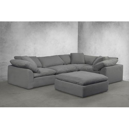 Sunset Trading - Cloud Puff Slipcovered Square Sectional Modular Ottoman - Color 391094