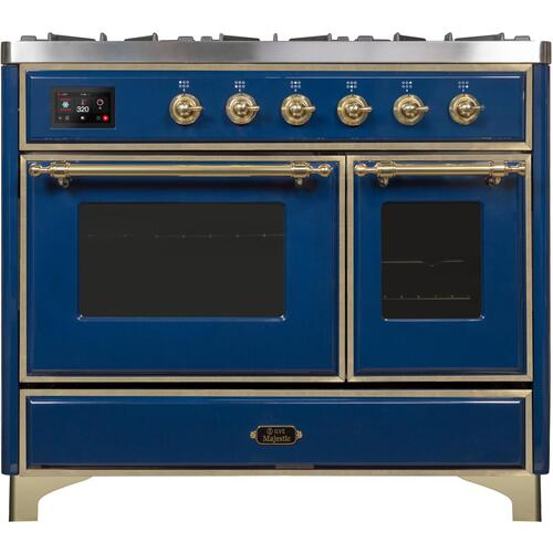 Majestic II 40 Inch Dual Fuel Liquid Propane Freestanding Range in Blue with Brass Trim