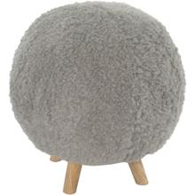 Critter Sitters 19-In. Seat Height Plush Gray Pouf Ottoman with 4 Spindle Legs - Furniture for Nursery, Bedroom, Playroom, Living Room Decor, CSPOUFOTT-GRY