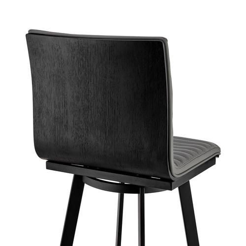 "Nikole 30"" Gray Faux Leather and Matte Black Finish Swivel Bar Stool with Black Wood Back"