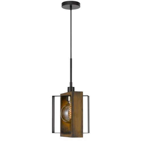 Cal Lighting & Accessories - 60W Agrigento pine wood/metal mini pendant fixture (Edison bulb INCLUDED)