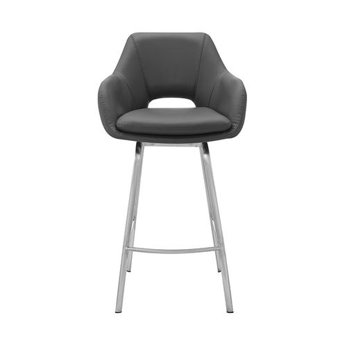 """Armen Living - Aura Grey Faux Leather and Brushed Stainless Steel Swivel 30"""" Bar Stool"""