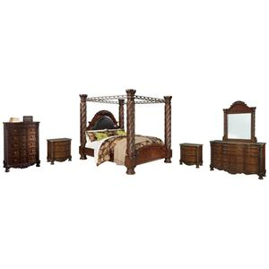 King Poster Bed With Canopy With Mirrored Dresser, Chest and 2 Nightstands
