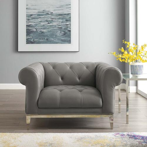 Idyll Tufted Button Upholstered Leather Chesterfield Armchair in Gray