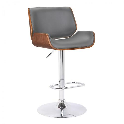 Armen Living London Contemporary Swivel Barstool in Grey Faux Leather with Chrome and Walnut Wood