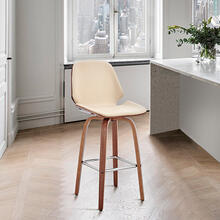 "View Product - Arabela 26"" Cream Faux Leather and Walnut Wood Swivel Bar Stool"