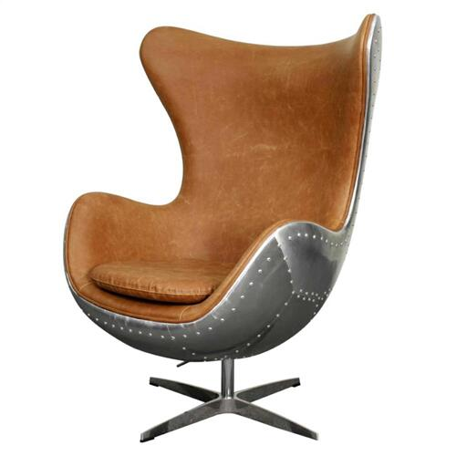 Axis PU Swivel Rocker Chair Aluminum Frame, Distressed Caramel