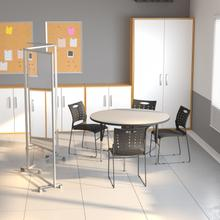 """Product Image - Transparent Acrylic Mobile Partition with Lockable Casters, 72""""H x 24""""L (3 Sections Included)"""