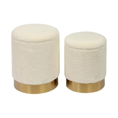 Product Image - Teddy Faux Sheepskin Storage Ottomans - Set of 2