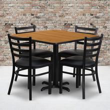 Product Image - 36'' Square Natural Laminate Table Set with X-Base and 4 Ladder Back Metal Chairs - Black Vinyl Seat