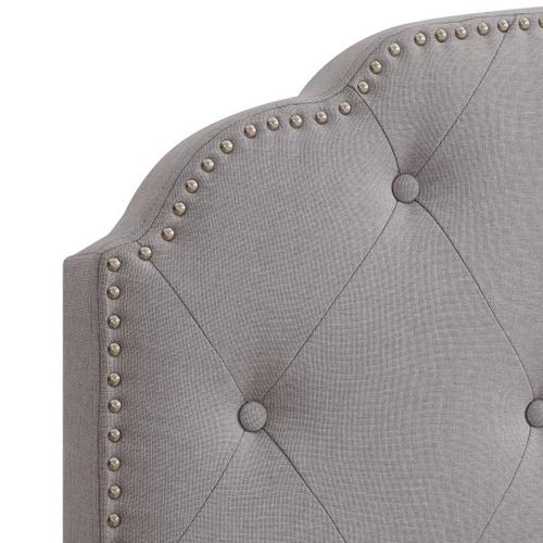 Diamond Tufted, Nailhead Trim Full Upholstered Bed in Smoke Gray