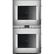 "400 series 400 series double oven Stainless steel-backed full glass door Width 30"" (76 cm) Left-hinged Controls centered"
