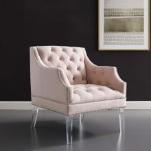 Proverbial Tufted Button Accent Performance Velvet Armchair in Pink