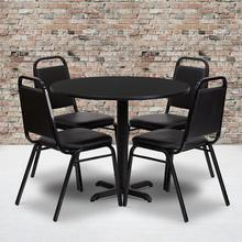 Product Image - 36'' Round Black Laminate Table Set with X-Base and 4 Black Trapezoidal Back Banquet Chairs