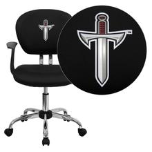 Troy University Trojans Embroidered Black Mesh Task Chair with Arms and Chrome Base