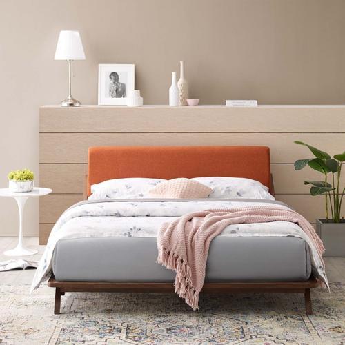 Modway - Luella Queen Upholstered Fabric Platform Bed in Walnut Orange