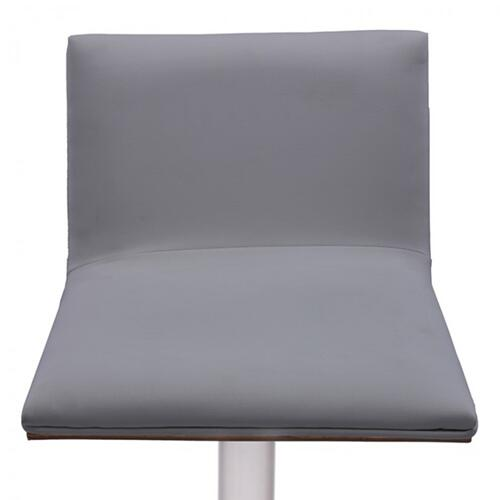 Armen Living Crystal Barstool in Brushed Stainless Steel finish with Grey Faux Leather and Walnut Back