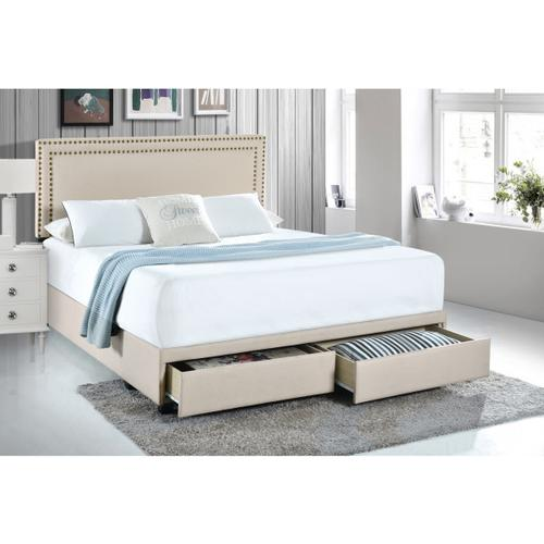 Accentrics Home - Queen Nail Trim Storage Bed in Linen