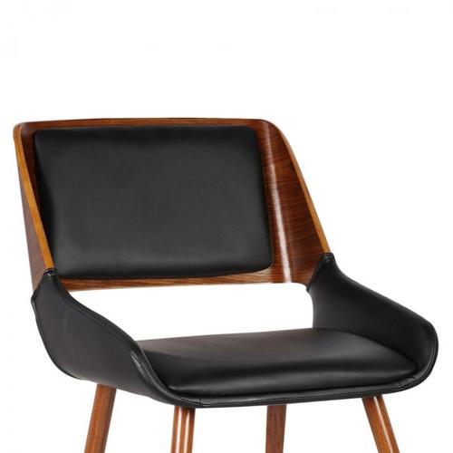 Armen Living Panda Mid-Century Dining Chair in Walnut Wood and Black Pu