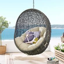 Hide Sunbrella® Fabric Swing Outdoor Patio Lounge Chair Without Stand in Gray Beige