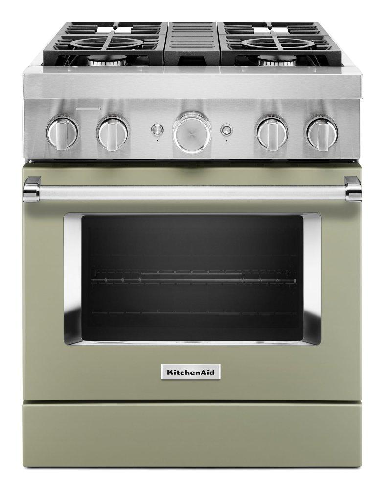 KitchenaidKitchenaid® 30'' Smart Commercial-Style Dual Fuel Range With 4 Burners - Avocado Cream