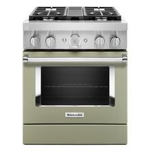 KitchenAid® 30'' Smart Commercial-Style Dual Fuel Range with 4 Burners - Matte Avocado Cream