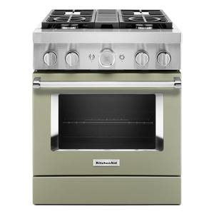 KitchenAid® 30'' Smart Commercial-Style Dual Fuel Range with 4 Burners - Avocado Cream Product Image