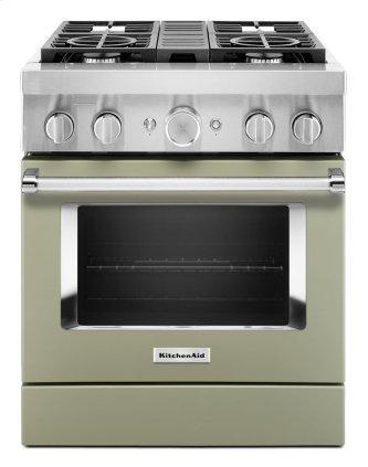 KitchenAid™ 30'' Smart Commercial-Style Dual Fuel Range with 4 Burners - Matte Avocado Cream